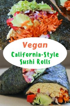 A vegan California-style Sushi Roll made using nori wraps and filled with hummus and vegetables, plus avocado. You've never had such a delicious sushi, made vegan and gluten-free! #veganfood #sushi #healthyrecipe #glutenfree