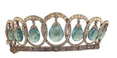 aquamarine tiara, formerly property of queen eugenie of spain.