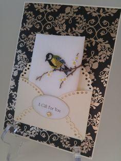 Unique Vintage Embroidered Handkerchief Gold by BolstersMillsCards