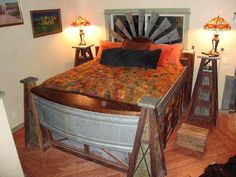 This windmill bed is something! Made of reclaimed walnut, galvanized water troughs and a six ft. windmill headboard, t Funky Home Decor, Home Decor Styles, Cheap Home Decor, Windmill Decor, Water Trough, Western Homes, Diy Bed, Cool Beds, The Ranch