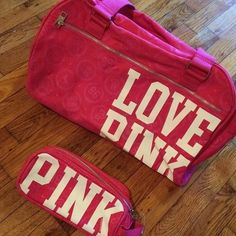 Victoria's Secret PINK Luggage Set Do not pass this deal up !! Comes with duffle bag and mini make up bag, lined with plastic material for any spills inside. Unfortunately there is a small coffee stain underneath one of the letters, this material is very washable though and I assume it would come out. It's on the bottom and hardly noticeable and my price does reflect. PINK Victoria's Secret Bags Travel Bags
