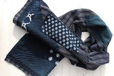 Farmer boro scarf made from vintage Japanese shima, handwoven indigo cotton with sashiko stitching