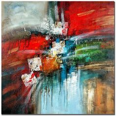 This ready to hang, gallery-wrapped art piece features an abstract composition of colors and shapes. Masters Fine Art is a company that travels around the world to bring the best in fine art from outs