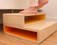 StepUp A Modern Step Stool for Kids by SpringModern on Etsy Plywood Projects, Furniture Projects, Diy Stool, Step Stools, Foot Stools, Childrens Step Stool, Toddler Furniture, Wooden Steps, Most Comfortable Office Chair