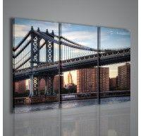 Un bel quadro moderno che immortala un ponte in un contesto metropolitano in un tipico scorcio di una grande città americana. La stampa su tela è adatta per arredamenti moderni di uffici e salotti.