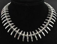Taxco Mexico Vtg Sterling Silver Modernist Curved Bar Link Bib Collar Necklace | eBay