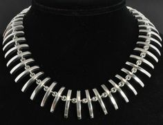 Taxco Mexico Vtg Sterling Silver Modernist Curved Bar Link Bib Collar Necklace | eBay
