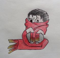 """""""Christine Daaé, where is your red scarf? You can't have lost it?"""" Chibi Erik cuddled up in Christine's scarf...you're welcome. Phantom of the Opera fanart (phanart) chibi"""