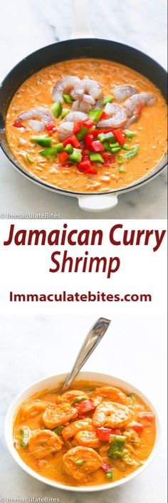 Jamaican Curry Shrimp- Curry with big bold flavors like —coconut milk, thyme and bell peppers are among the ingredients that round out… Jamaican Cuisine, Jamaican Dishes, Jamaican Curry, Jamaican Recipes, Curry Recipes, Fish Recipes, Seafood Recipes, Indian Food Recipes, Soup Recipes