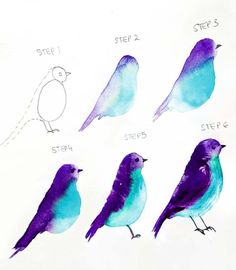 ▷ beautiful drawing ideas with detailed instructions ▷ 1000 + schöne Zeichnen Ideen mit detaillierten Anleitungen Learn to draw sparrow, instructions in six steps for beginners, simple drawings Watercolor Paintings For Beginners, Watercolour Tutorials, Watercolor Techniques, Paint Techniques, Drawing Techniques, Bird Drawings, Easy Drawings, Bird Doodle, Bird Artists