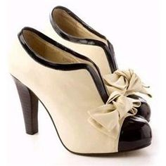 Vintage style beige and black bowknot booties high heel shoes!