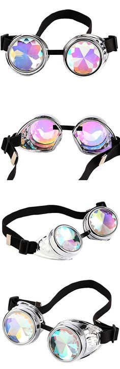 Lelinta Steampunk Rave Glasses Goggles with Rainbow Crystal Glass Lens,Silver,Adjustable