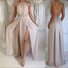 This sexy long party dress perfect for any holiday event . It features the halter neckline with shirred bodice , sexy open back and high slit .Fabric: Silk SatinColor: NudeSilhouettes: A LineBack Deta..