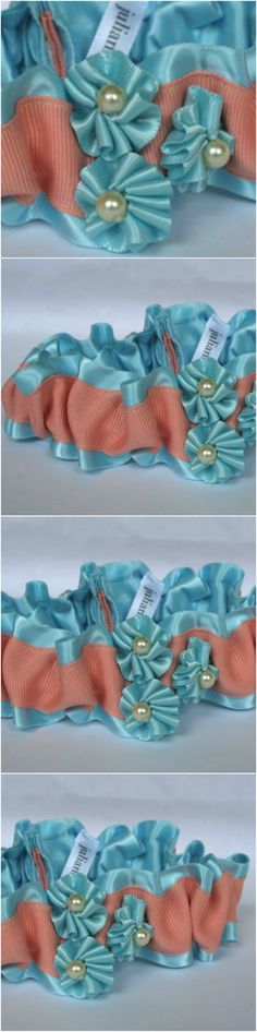 Custom Light Blue, Peach and Pearl Wedding Garter-by The Garter Girl