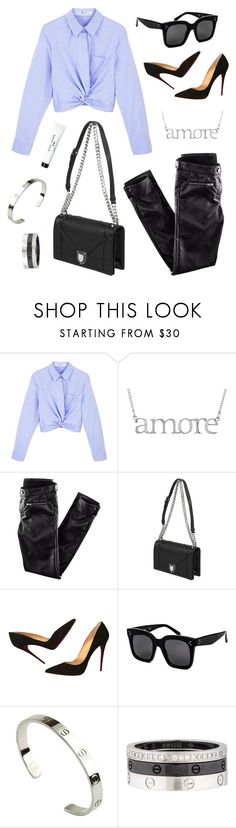 """""""Untitled #21230"""" by florencia95 ❤ liked on Polyvore featuring T By Alexander Wang, H&M, Christian Louboutin, CÉLINE, Cartier and Bobbi Brown Cosmetics"""