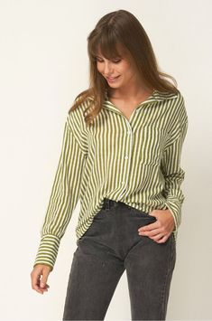 Rue Stiic Fermont Shirt in Copperfield Stripe, Sage. The Fremont Shirt is cut from a soft cotton fabric with a hand screen printed sage stripe. Fashion Boutique, Beauty Boutique, Girls Wardrobe, Australian Fashion, Vintage Denim, Cotton Fabric, Clothes For Women, Stylish, Outfit Shop