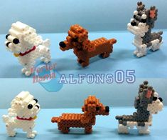 3D Dogs perler bead sprites by alfons05