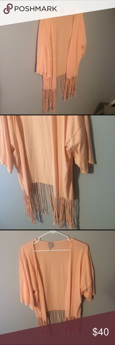 Bobi fringe kimono in peach size small Light peachy pink comfy kimono can be worn as a cardigan or for a beach cover up! Worn once, like new. bobi Tops