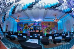 Graffiti NYC Lounge Graffiti Themed Bar Mitzvah Lounge with LED Furniture, Custom Logo Decals, Pillows, Graffiti Wall Mural & Logo Backdrop