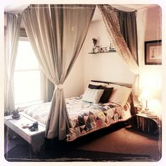 Nice bedroom set up. Like the idea of a table or chest at the end of the bed. Rope, small hooks and cheap curtains. Gives the illusion of privacy in small living spaces. Cheap Curtains, Bed Curtains, Black Curtains, Small Space Living, Living Spaces, Home Bedroom, Bedroom Decor, Bedroom Ideas, Bedrooms