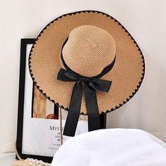 ce5308f8c52 Womens Straw Wide Brim Bowknot Bucket Cap Sunshade Beach Travel Visor Cap