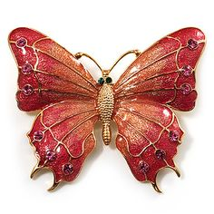 Oversized Gold Pink Enamel Butterfly Brooch - main view