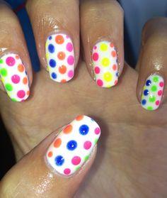 Funky summer nails neon bright spots polkadots :)