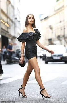 Looking good: The influencer ensured all eyes were on her as she rocked a skintight LBD with a dramatic ruffled Bardot neckline womens clothing Olivia Culpo looks showstopping in a ruffled dress in Paris Frilly Dresses, Sexy Dresses, Fashion Dresses, Outfit Essentials, Girls In Mini Skirts, Sexy Legs And Heels, Sexy Skirt, Beautiful Legs, Look Fashion