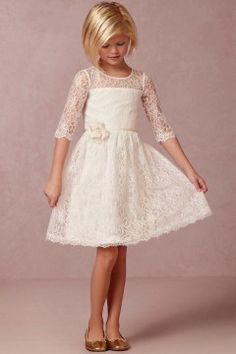 A-line Scoop Short/Mini Lace Fabric Flower Girl Dresses with Flower Style f50521