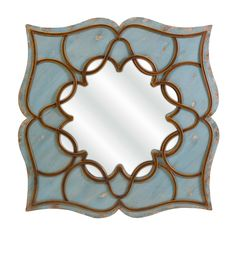 IMAX Worldwide Home - Candice Antique Blue Lotus Flower Mirror Wood Wrought Iron Decor - Wall Mirrors