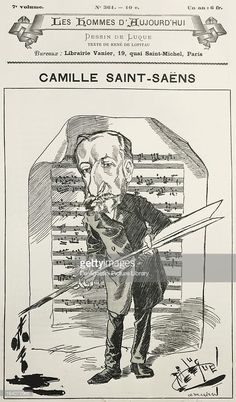 Caricature of Charles Camille Saint-Saens (Paris, 1835-Algiers, 1921), French composer, pianist and organist. Paris, Bibliothèque-Musée De L'Opéra National De Paris-Garnier