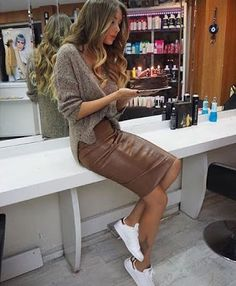 Women's fashion | Neutral sweater and leather pencil skirt with sneakers