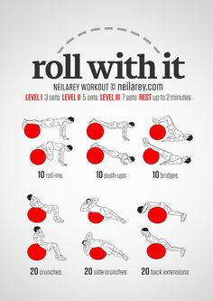 Just Roll With It / Core and Abs Exercise Ball Workout Hand picked by http://WorkoutSeries.com Credit goes to http://neilarey.com/workouts/roll-with-it-workout.html