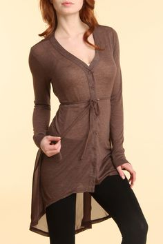 Cecico Chiffon Tunic In Brown, i love long trenchies like this