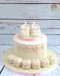 Cute vintage christening cake - cake by Karen Keaney Cupcakes, Cupcake Cakes, Baby Boy Christening Cake, Baptism Cakes, Toddler Birthday Cakes, Girl Cakes, Baby Cakes, Cake Decorating Supplies, Cakes For Boys