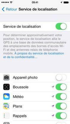 Désactiver le service de localisation pour gagner en batterie iphone