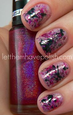 Let them have Polish!: Pink Wednesday!! Edgy Holographic Splatter