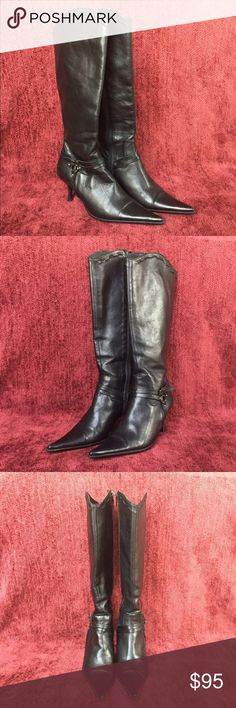 Vera Gomma Black Boots Black Leather Boots. Made in Italy. Vera Gomma Shoes Heeled Boots