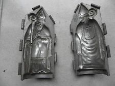 antique mould Santa Claus chocolate St Nicholas candy mold tin french vintage c
