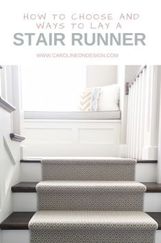 How to choose and ways to lay a stair runner. I share the best carpet styles pattern considerations and ways to lay a carpet on stairs. Treatment Projects Care Design home decor Stairs And Staircase, Staircase Design, Spiral Staircases, Basement Stairs, Staircase Runner, Staircase Ideas, Basement Ideas, Beige Carpet, Patterned Carpet