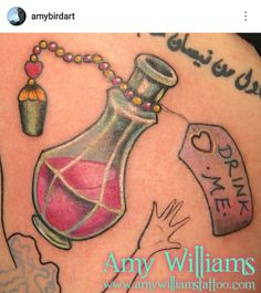 Alice in Wonderland drink me poison bottle thigh tattoo by Amy Williams @amybirdart Neotraditional, traditional, girly, pink, hearts, teal