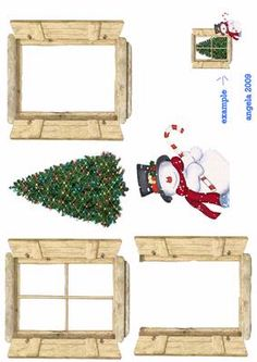 Christmas window on Craftsuprint designed by Angela Wake - this is very effective made up. Attach the tree first with DST to your card stock, then the first window frame with the panes cut out attach around the edges with foam pads to lift it away from the card, acetate can be used for the window if wanted, then add the other layers step by step. I have added the snowman to be outside the window, it makes a nice card - Now available for download!