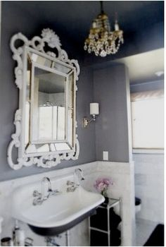 Love Live This Bathroom Especially The Mirror Grey With Fancy