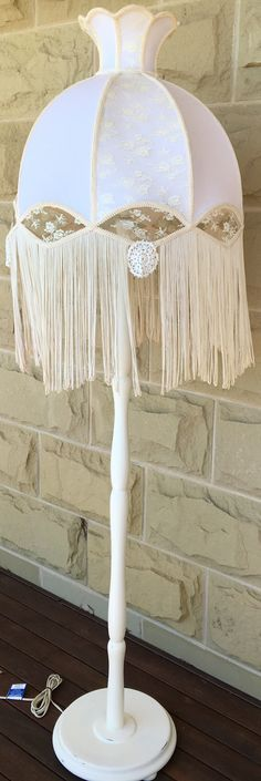 Vintage standard lamp with shabby chic/Victorian style shade <3