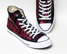 e67d839b12b7 Sequin - Phoenix Red and Black Fire Flame Hi Top Converse Sneakers Canvas  Shoes