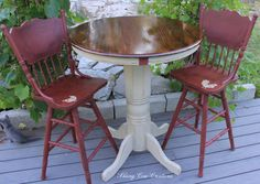 Country themed bar table and two swivel by skiingcowcreations