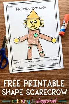 We're practicing our 2D shapes, colors, counting, and fine motor skills with this free printable 2D shape scarecrow. #kindergarten #2dshapes #preschool