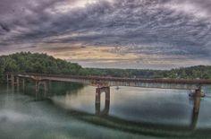 Sunset at Big Bridge on Lewis Smith Lake in Cullman, Alabama