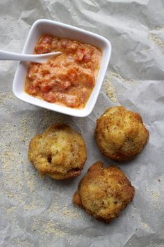 Fried Mac 'n Cheese Bacon Bites with Chunky Tomato Cream Sauce