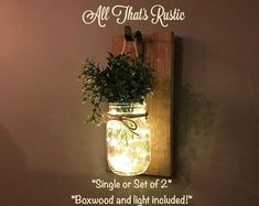Farmhouse Wall Decor - Rustic Wall Sconces - Housewarming Gift - Pair of Sconces Everyday Home Decorations - Wall Hangings with Mason Jars Mason Jar Sconce, Sconces, Home Decor Sets, Mason Jar Centerpieces, House Warming Gifts, Wall Vase, Rustic Home Decor, Fairy Lights, Mason Jar Lamp